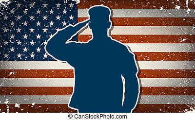 saudando, vetorial, exército, nós, soldado