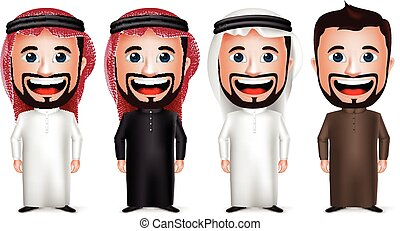3D Realistic Saudi Arab Man Cartoon Character Wearing Different Traditional Thobe Dress and Gutra Isolated in White Background. Vector Illustration.
