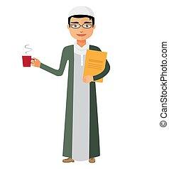 Saudi arab businessman with a cup of tea and teapot vector flat cartoon illustration.