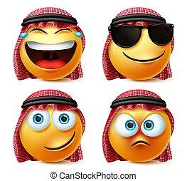 Saudi arab emoticon vector set. Emotions or emoji of saudi arabian man face in laughing, naughty and happy facial expression.