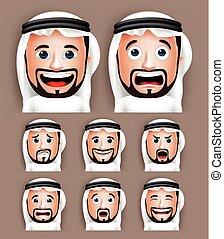 Saudi Arab Man Head Expressions - Set of 3D Realistic Saudi...