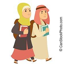 Saudi Arab Muslim boy and girl kids going to school vector...
