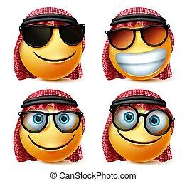 Saudi arab vector emoji glasses emoticon set. Saudi arab emoticon face wearing sunglasses and eyeglasses in smiling, joyful and happy facial expression.