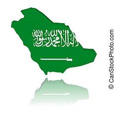 saudi-arabië, kaart, vlag, met, reflectie