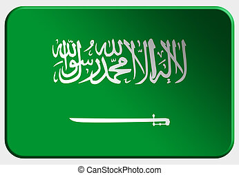 Saudi Arabia 3D button on white background