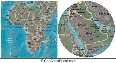 Saudi Arabia and Africa map