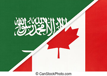 Saudi Arabia and Canada, symbol of national flags from textile. Championship between two countries.