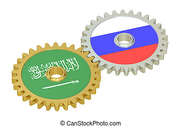 Saudi Arabia and Russia flags on a gears, 3D rendering...