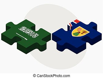 Saudi Arabia and Turks and Caicos Islands Flags in puzzle...