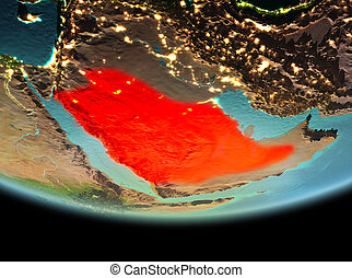 Saudi Arabia at night on Earth