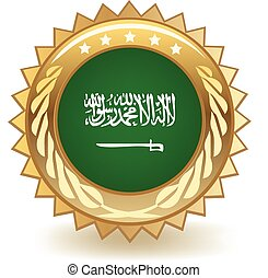 Gold badge with the flag of Saudi Arabia.