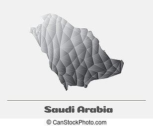 Saudi Arabia Black and White Network Map. Vector logo...