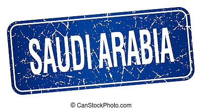 Saudi Arabia blue stamp isolated on white background