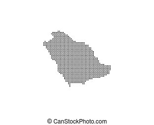 Saudi Arabia, country, dotted map on white background. ...