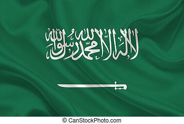 Saudi Arabia country flag on wavy silk fabric panorama background