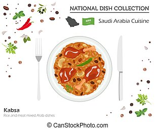 Saudi Arabia Cuisine. Middle East national dish collection.  Kabsa isolated on white, infograpic