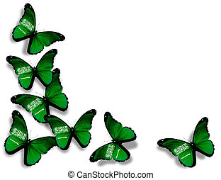 Saudi Arabia flag butterflies, isolated on white background