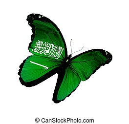 Saudi Arabia flag butterfly flying, isolated on white...