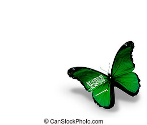 Saudi Arabia flag butterfly, isolated on white background