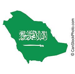Saudi Arabia Flag - Flag of Saudi Arabia overlaid on outline...