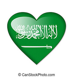 Saudi Arabia flag in heart shape isolated on white background
