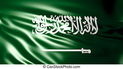 Saudi Arabia flag in the wind . 3d illustration - Saudi...