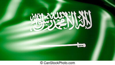 Saudi Arabia flag in the wind . 3d illustration