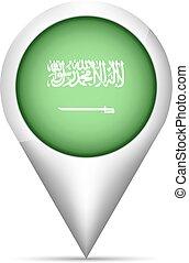Saudi Arabia flag map pointer with shadow. Vector illustration