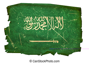 Saudi Arabia Flag old, isolated on white background.