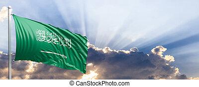 Saudi Arabia flag on blue sky. 3d illustration