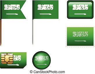 Saudi Arabia flag set on a white background.
