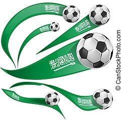 Saudi Arabia flag set with soccer ball