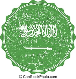Saudi Arabia flag stamp with grunge. Vector illustration
