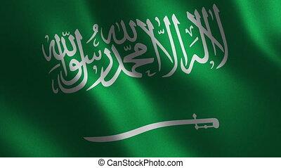 Saudi Arabia flag waving 3d. Abstract background. Loop...