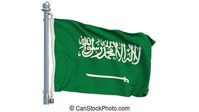 Saudi Arabia flag waving on white background, animation. 3D...