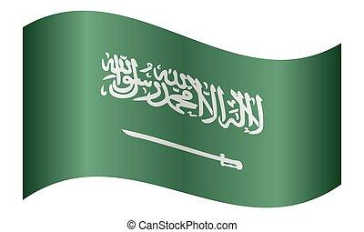 Saudi Arabia flag waving on white background