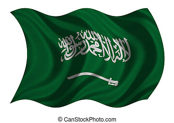 Saudi Arabia flag wavy on white, fabric texture - Saudi...