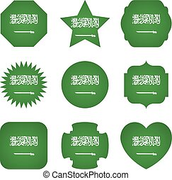 Saudi Arabia flag with different shapes on a white background