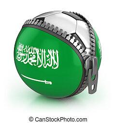 Saudi Arabia football nation - football in the unzipped bag with Saudi Arabia flag print