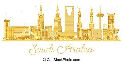 Saudi Arabia golden skyline silhouette.