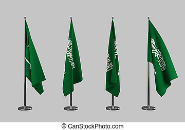 Saudi Arabia indoor flags isolate on white background