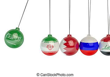 Saudi Arabia, Iran, Bahrain, Russia and Iraq political conflict concept