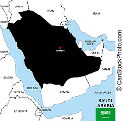 saudi arabia map - big size black map of saudi arabia with...