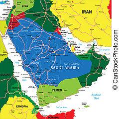 Saudi Arabia map - Highly detailed vector map of Saudi...