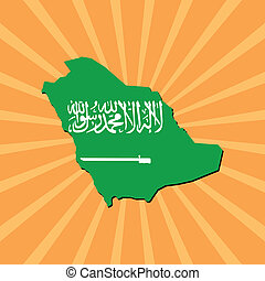 Saudi Arabia map flag on sunburst
