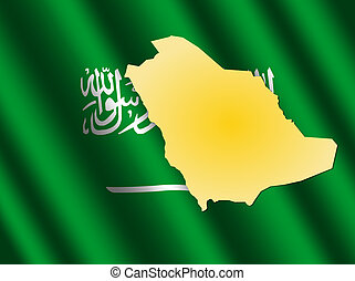 Saudi Arabia map on flag