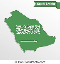 Saudi Arabia map with flag inside and ribbon