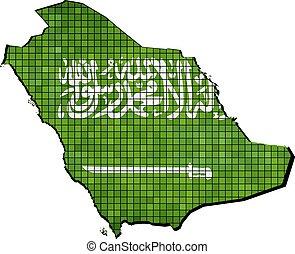 Saudi Arabia map with flag inside