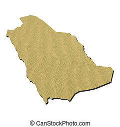 Map of Saudi Arabia with rippled sand background on white