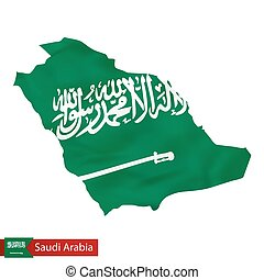 Saudi Arabia map with waving flag of country.